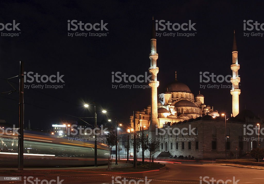 New Mosque and metro train royalty-free stock photo