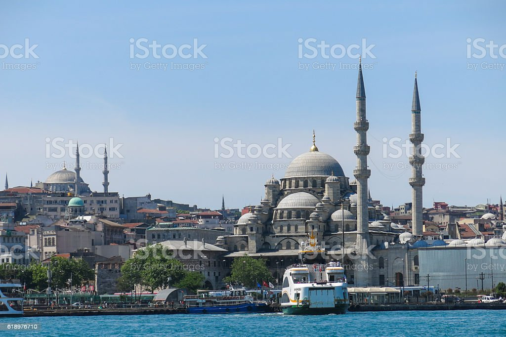 New Mosque (Yeni Cami) from the Bosphorus river stock photo