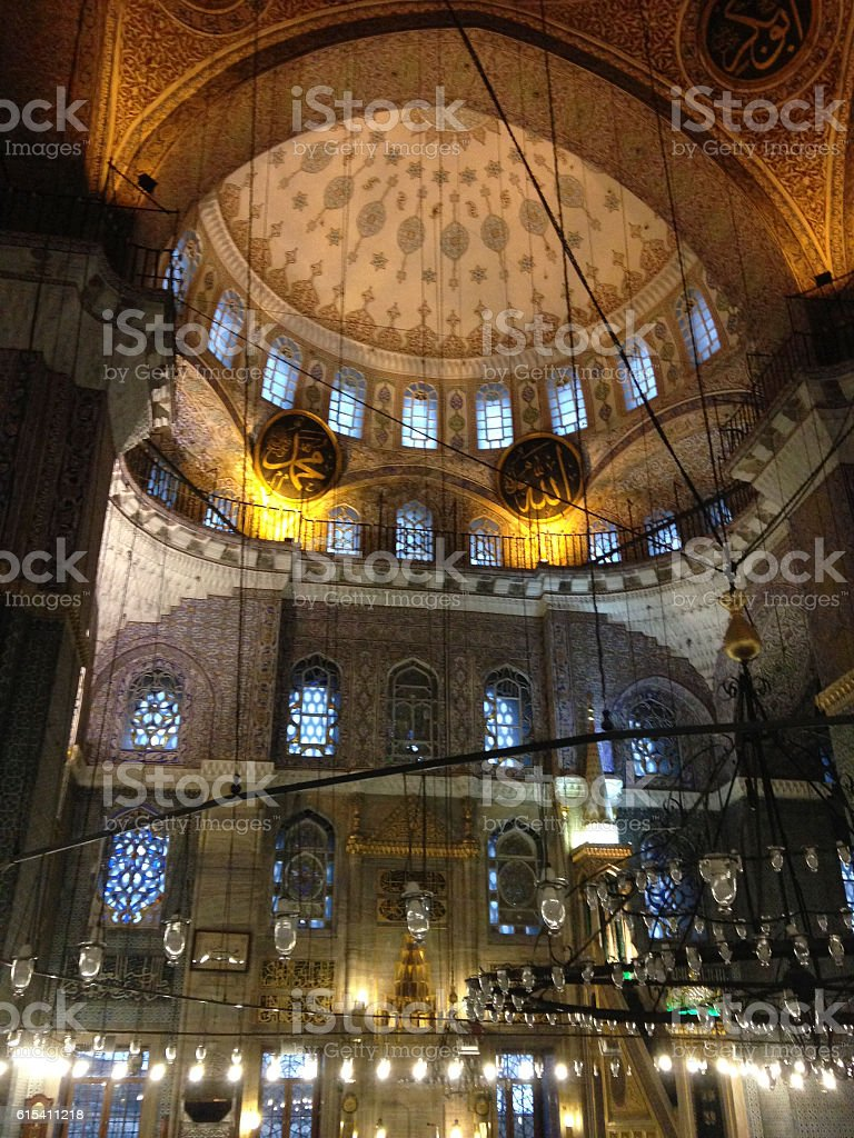 New Mosque or Yeni Cami interior in Istanbul Turkey stock photo
