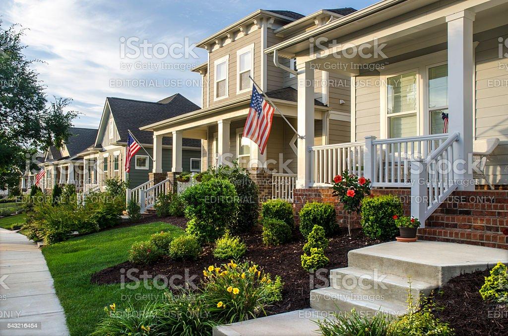 New Neighborhood with American Flags stock photo