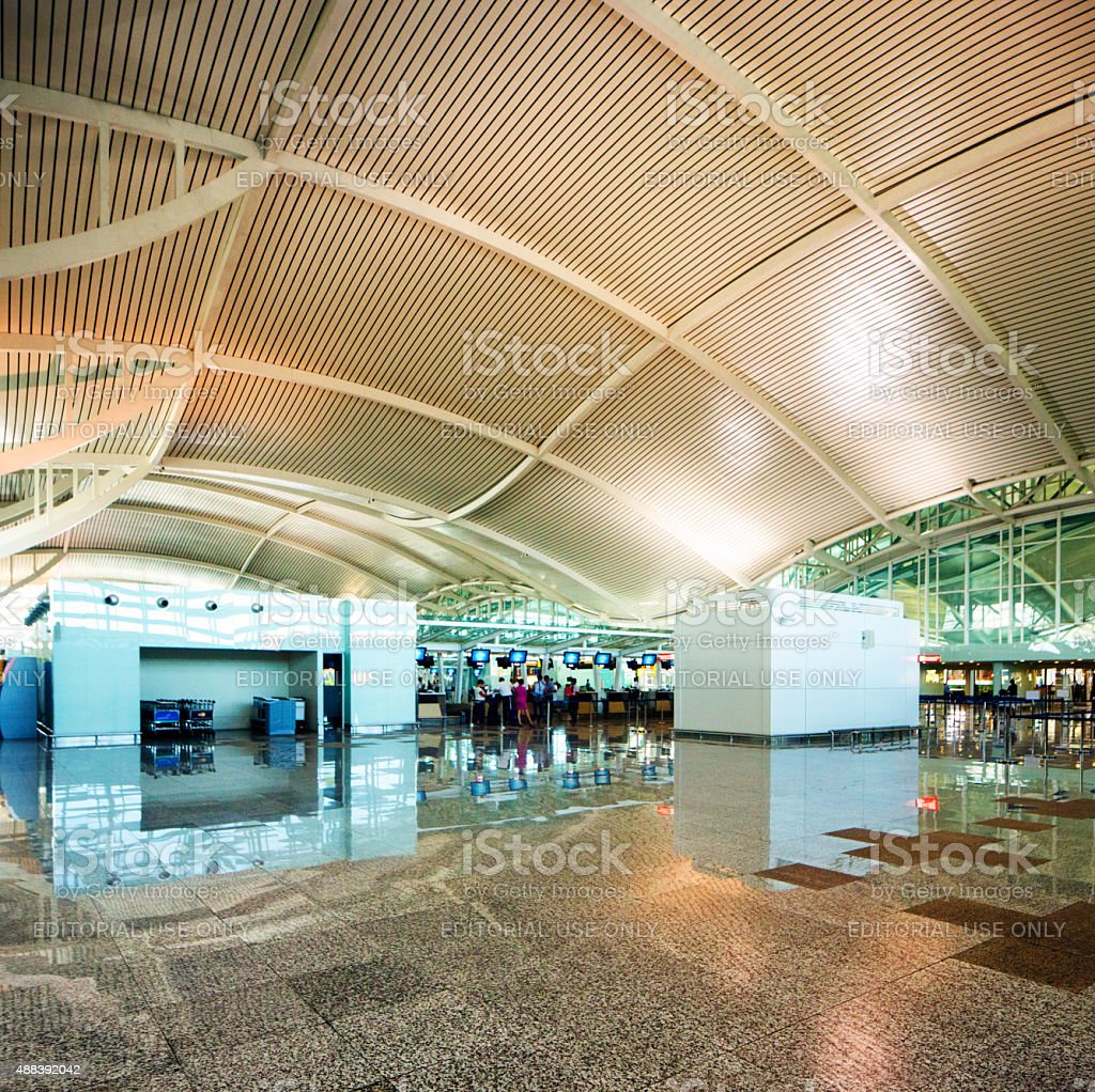 New Ngurah Rai Denpasar International Airport departure lobby curved ceiling stock photo