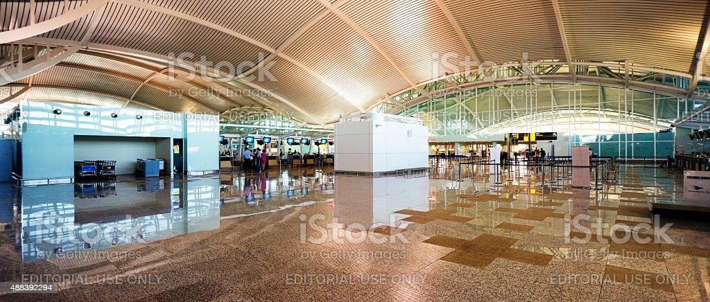 New Ngurah Rai Denpasar International Airport departure lobby panorama stock photo