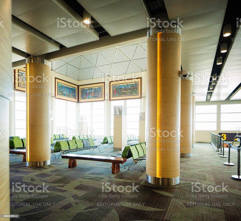 New Ngurah Rai Denpasar International Airport gate waiting area stock photo
