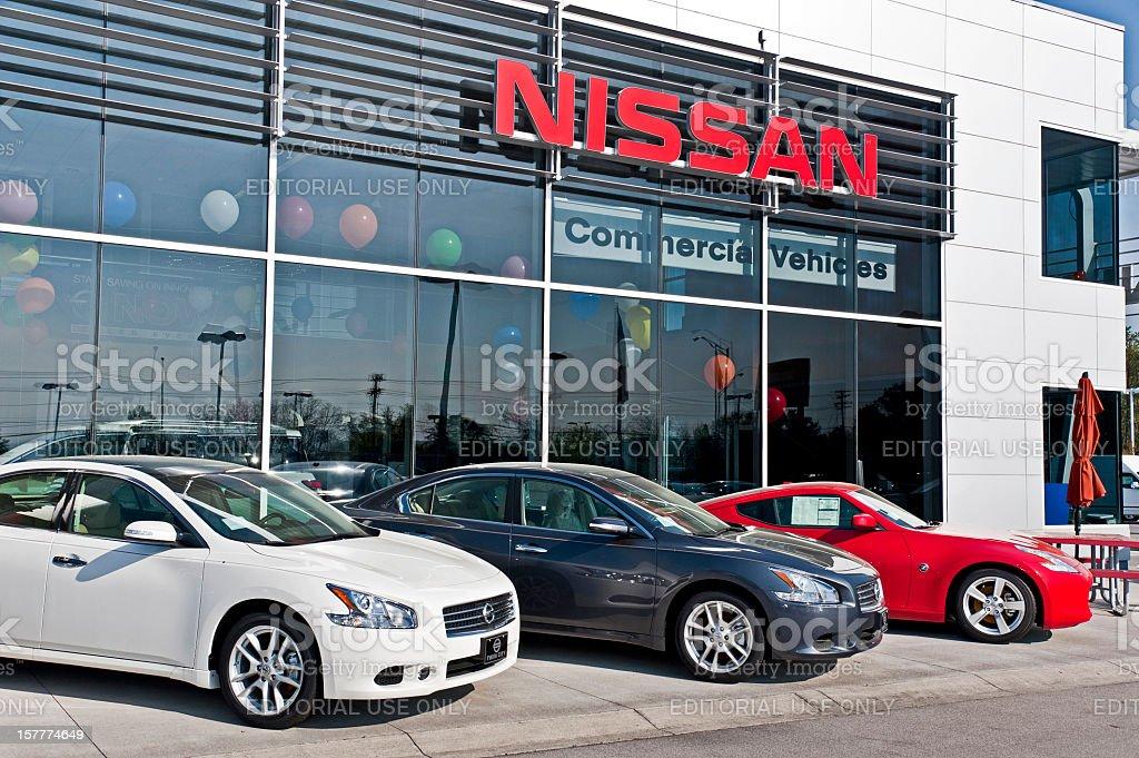 New Nissan Cars Displayed At Dealership stock photo