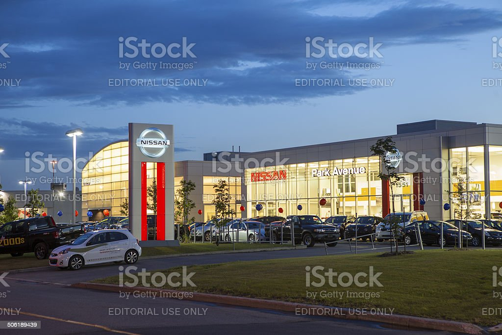 New Nissan Cars Displayed At Dealership stock photo