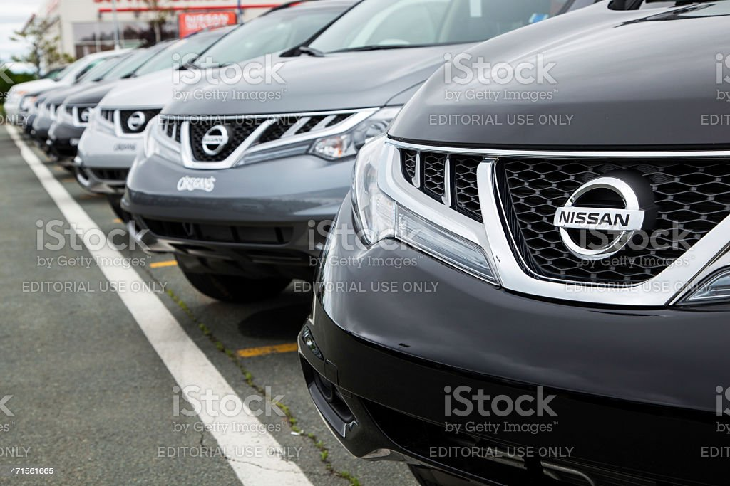 New Nissan Murano Vehicles in a Row at Car Dealership stock photo