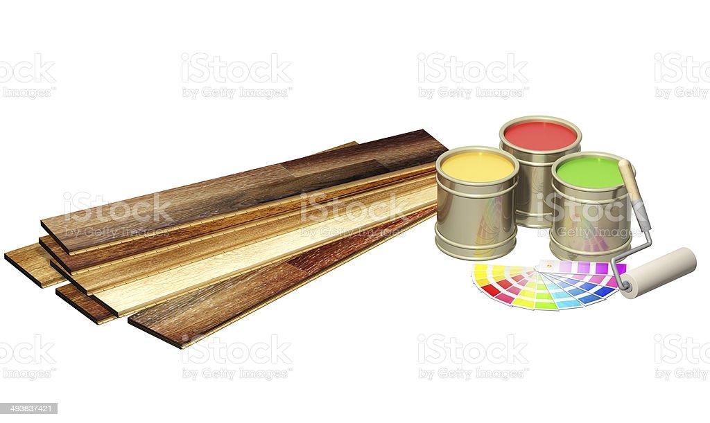 New oak parquet and paints stock photo