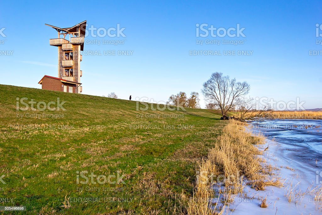 New observation tower at the dyke stock photo