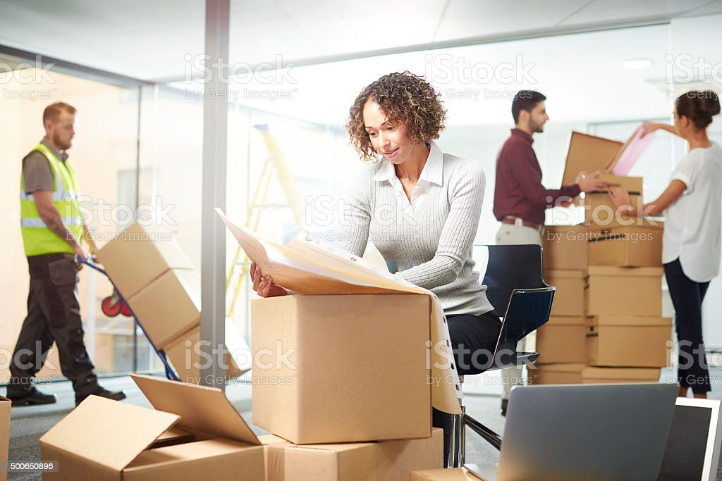 new office move day stock photo