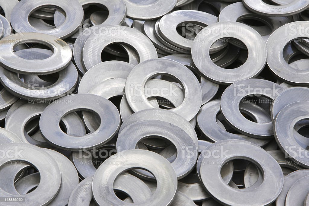 new oily steel washers stock photo