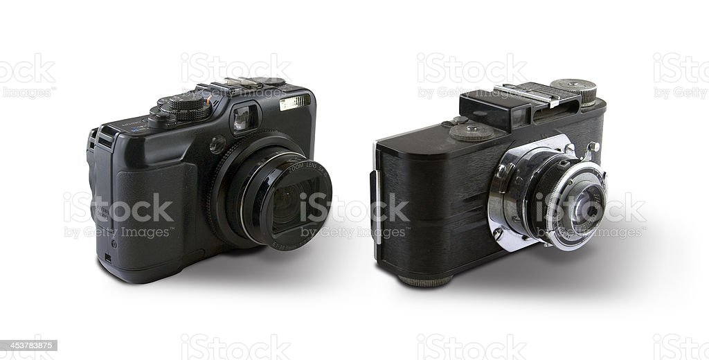 New & old compact camera royalty-free stock photo
