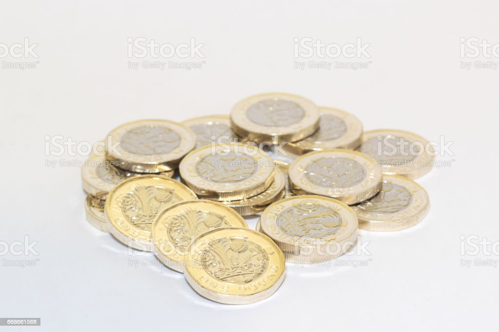 New One pound coin in the UK stock photo