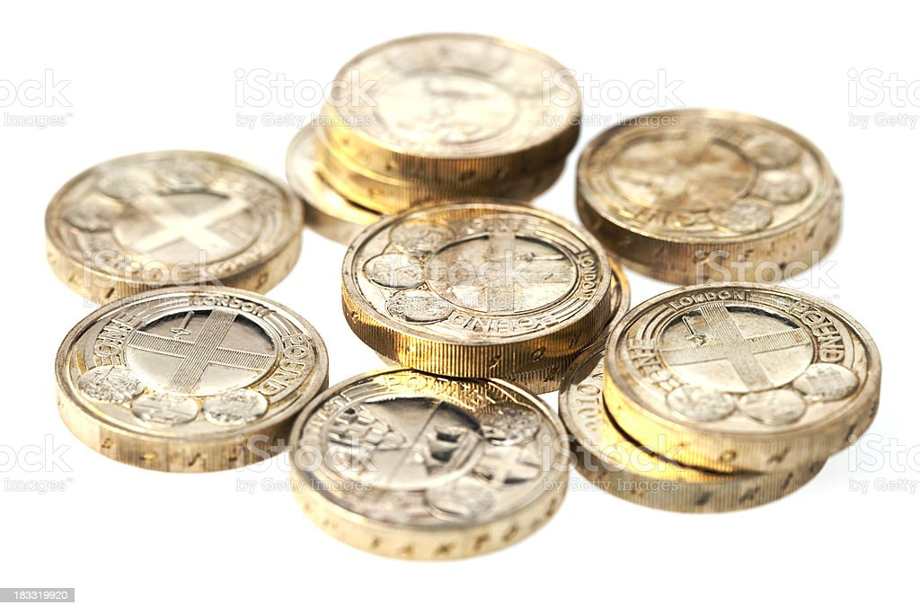 New One Pound Coins Isolated On White royalty-free stock photo