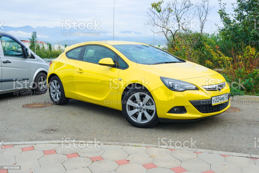 New Opel Astra parked on the street of Sochi. stock photo