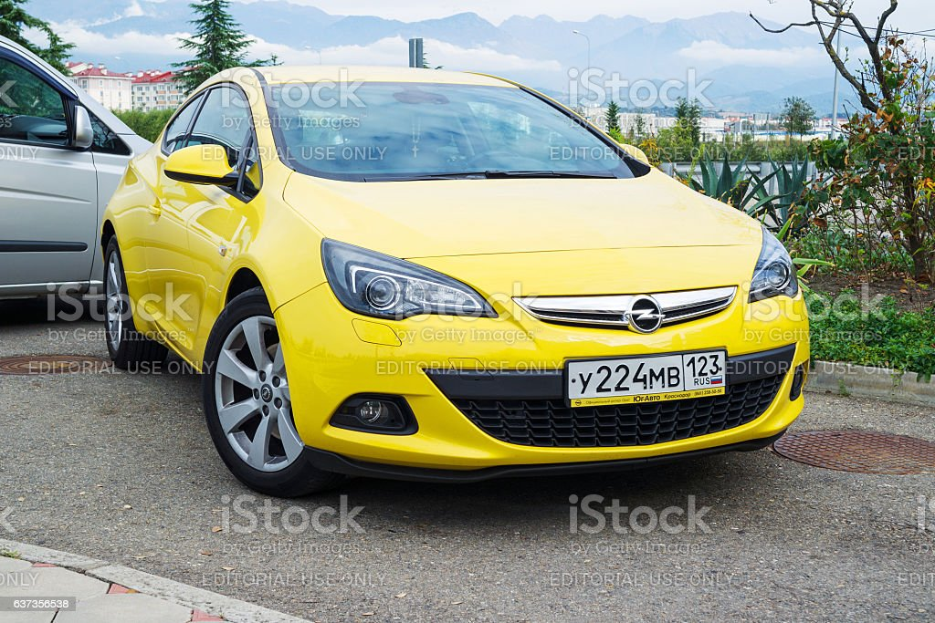 New Opel Astra parked. stock photo