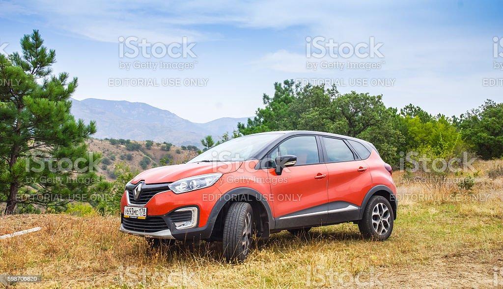 New orange Renault Kaptur stock photo