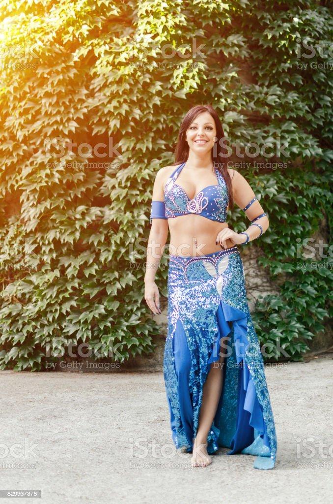 New oriental dance costume for women stock photo