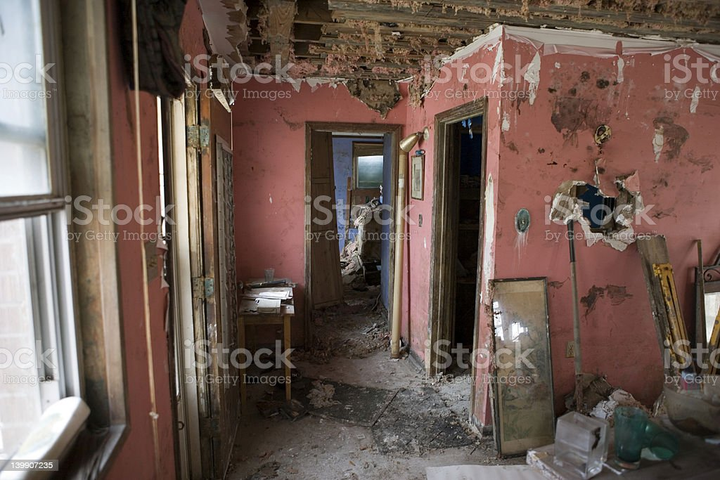 New Orleans after Katrina- My house, interiors. stock photo