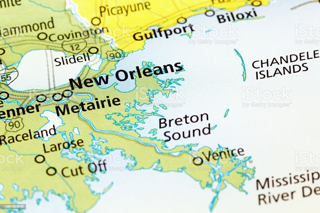 New Orleans area on a map, Louisiana stock photo