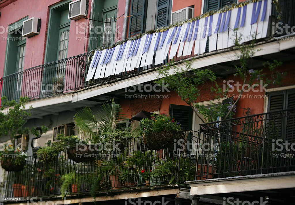 New Orleans Balcony with Piano Keyboard- French Quarter royalty-free stock photo