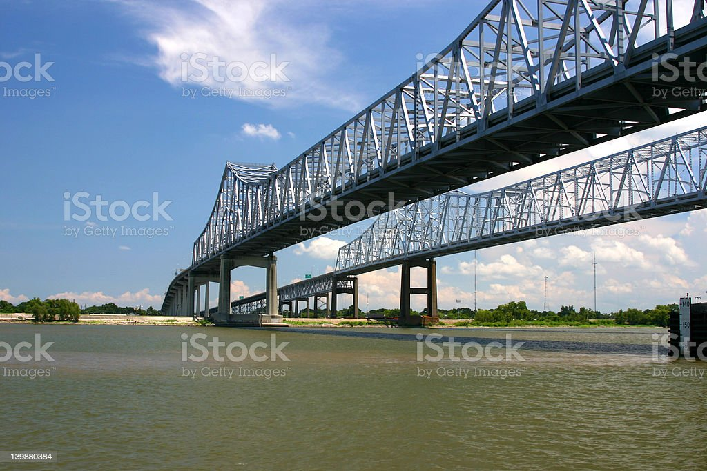 New Orleans Bridges Across the Mississippi royalty-free stock photo