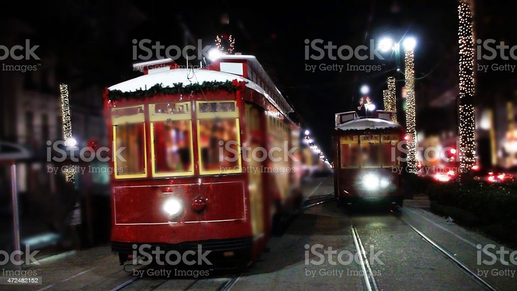 New Orleans Cable Car With Christmas Decorations in The Night stock photo