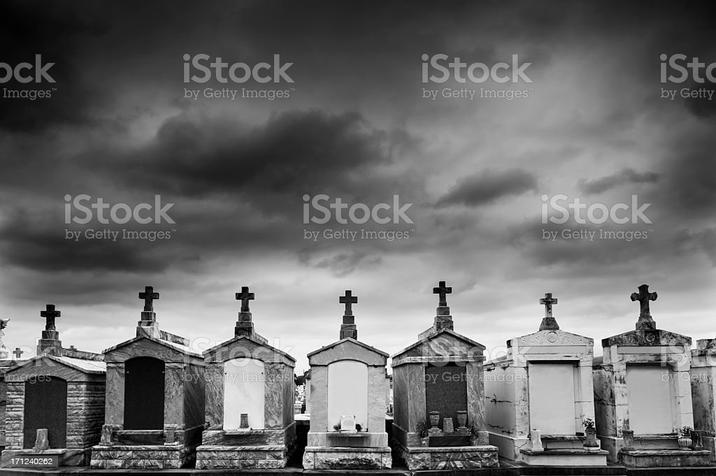 New Orleans Cemetery under a Threatening Sky stock photo