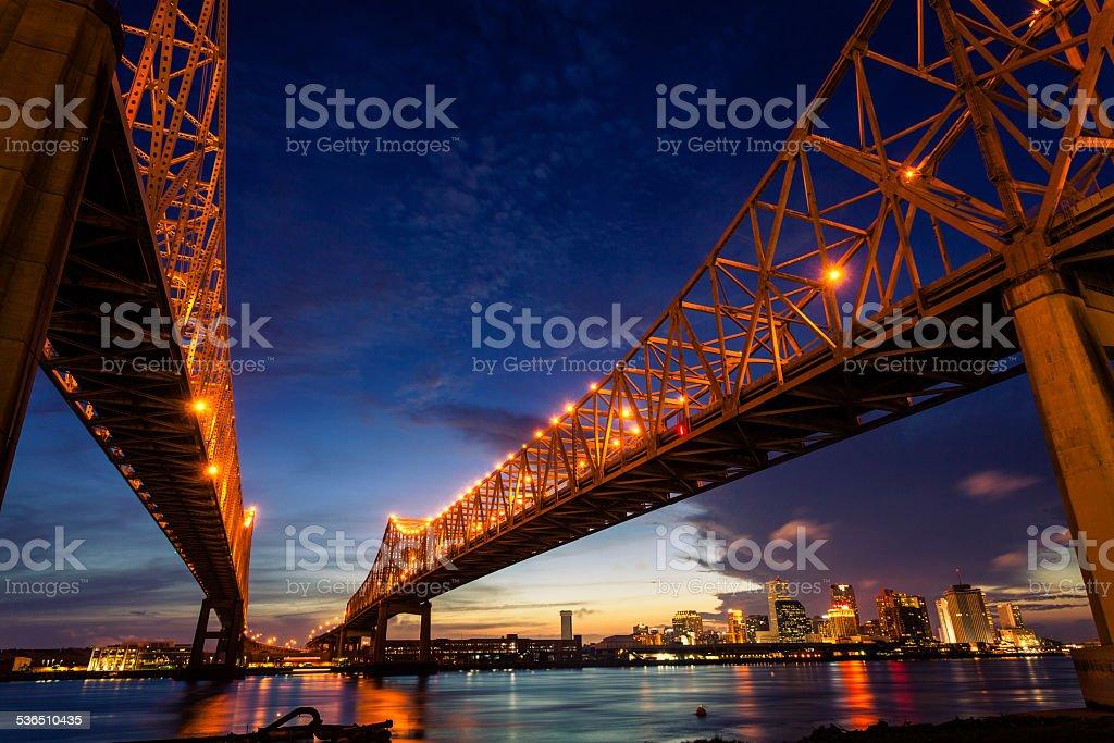 New Orleans Cityscape at Night, Louisiana, USA stock photo