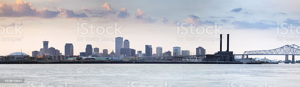New Orleans Cityscape Beyond the Mississippi River Before Sunset stock photo