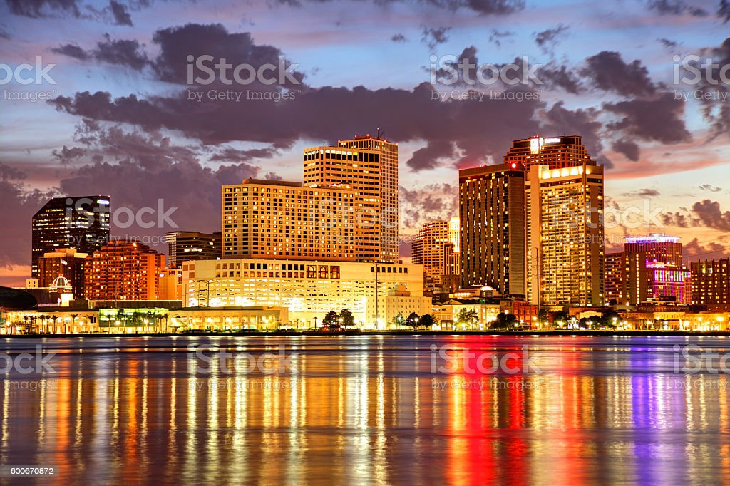 New Orleans Downtown Skyline along the Mississippi River stock photo