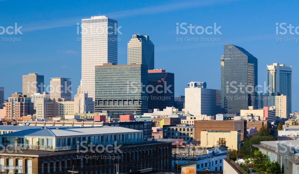 New Orleans Downtown Skyline Elevated View stock photo