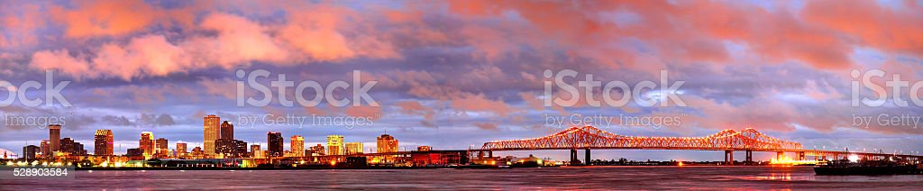New Orleans Downtown Skyline Panorama stock photo