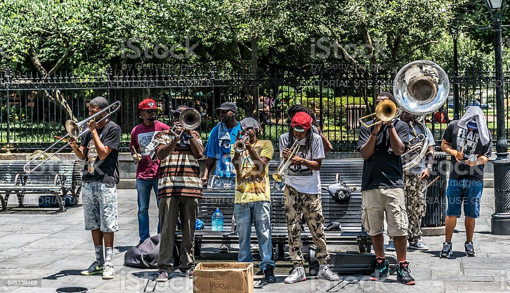 New Orleans French Quarter Street Jazz Musician Street Performers stock photo