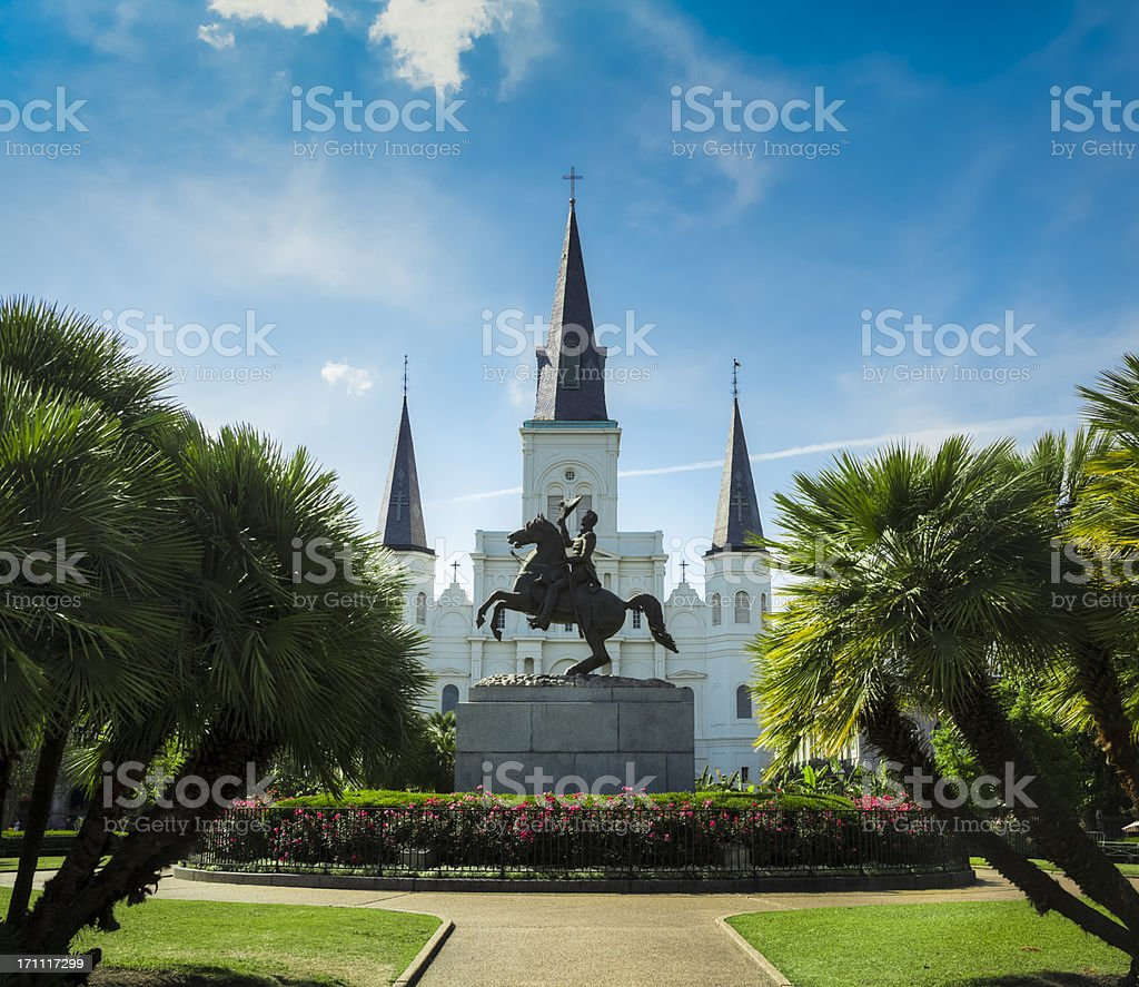 New Orleans Jackson Square and Saint Louis Cathedral royalty-free stock photo