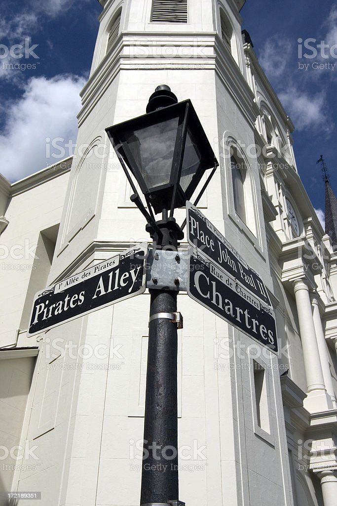 New Orleans lamp and street sign stock photo