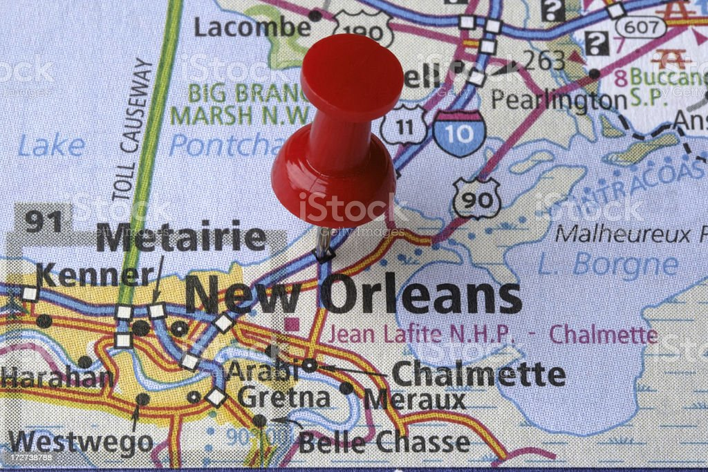 New Orleans, Louisiana on a map stock photo