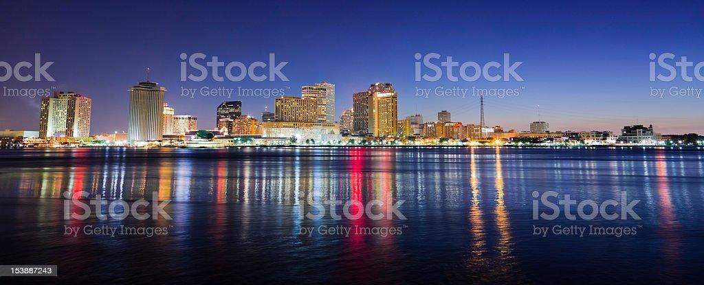 New Orleans Night Panorama Skyline stock photo