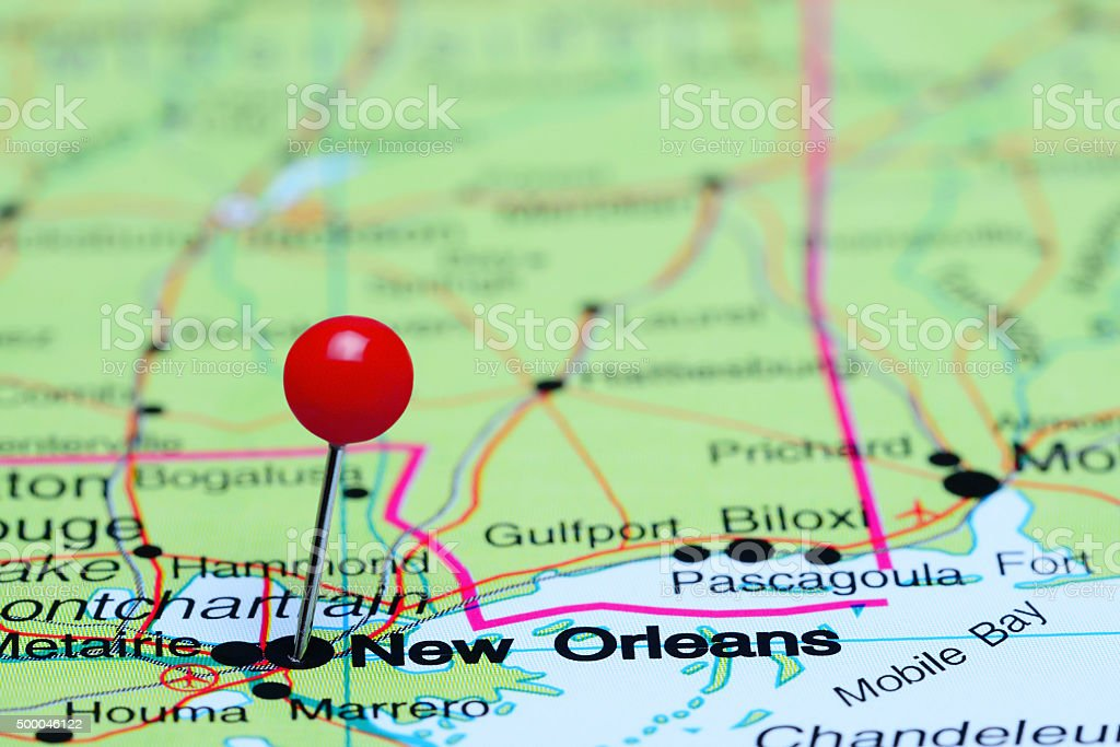 New Orleans pinned on a map of USA stock photo