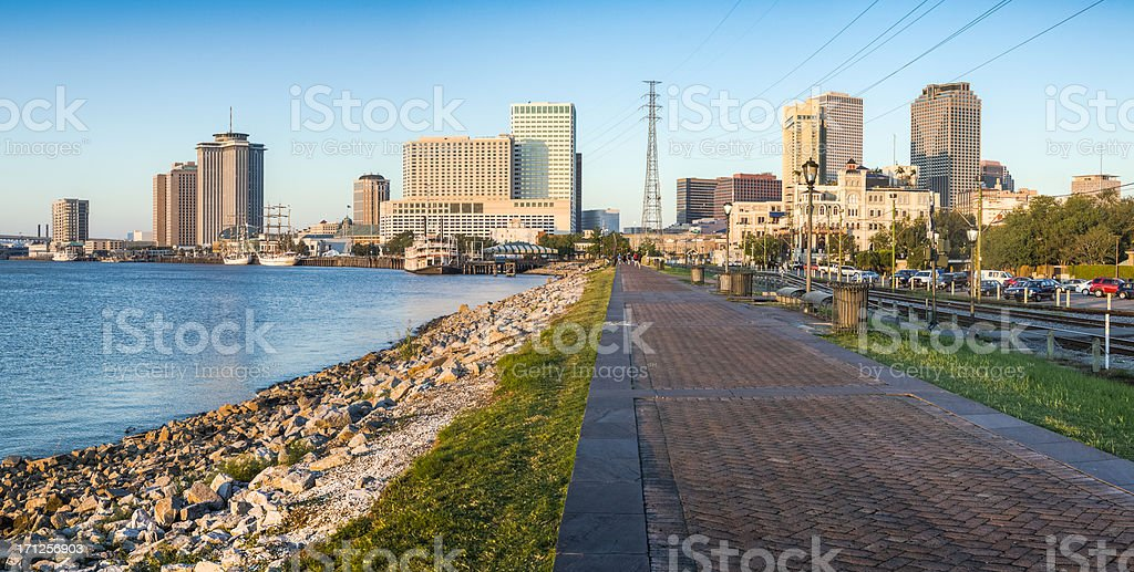 New Orleans River Walk Panorama stock photo
