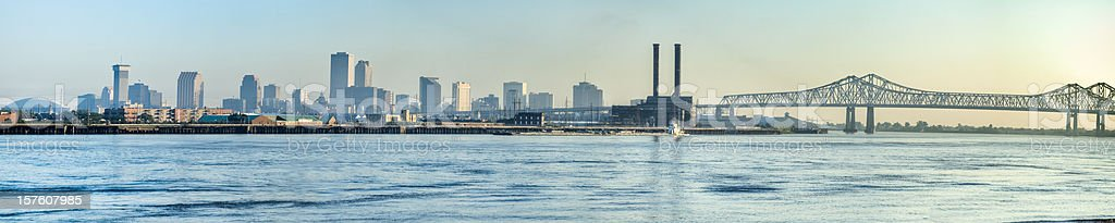New Orleans Skyline Across Mississippi River at Sunrise stock photo