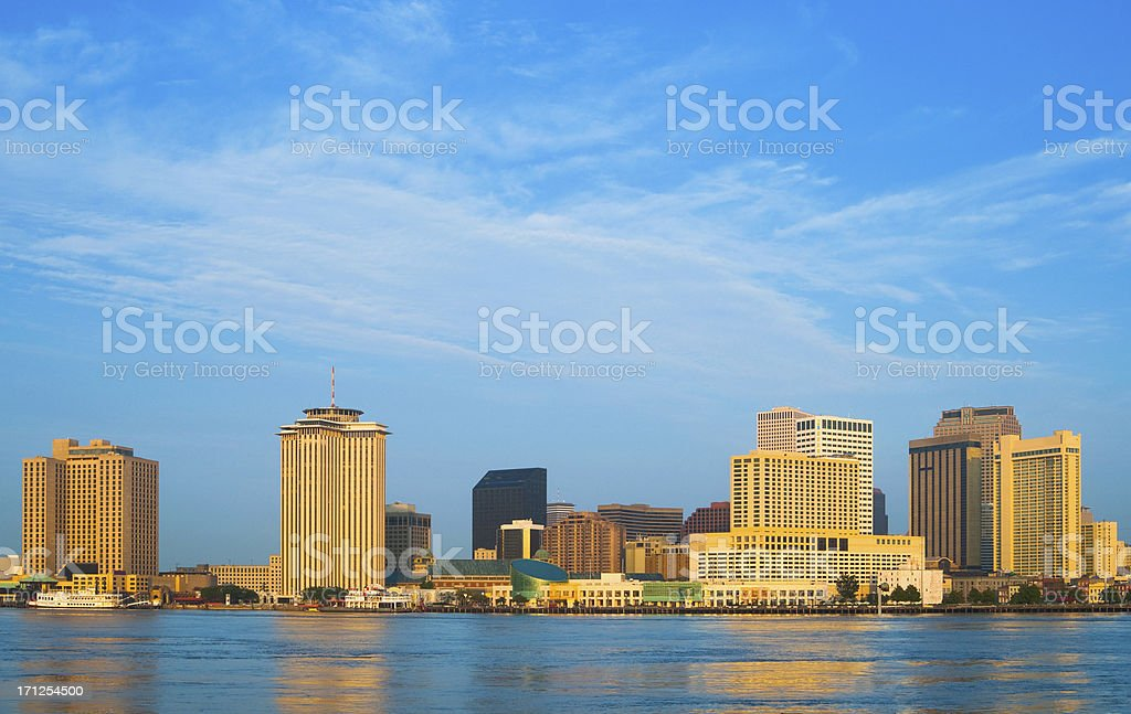 New Orleans Skyline and River royalty-free stock photo
