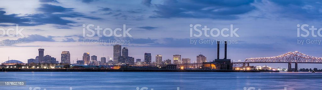 New Orleans Skyline from Across Mississippi River at Sunset stock photo