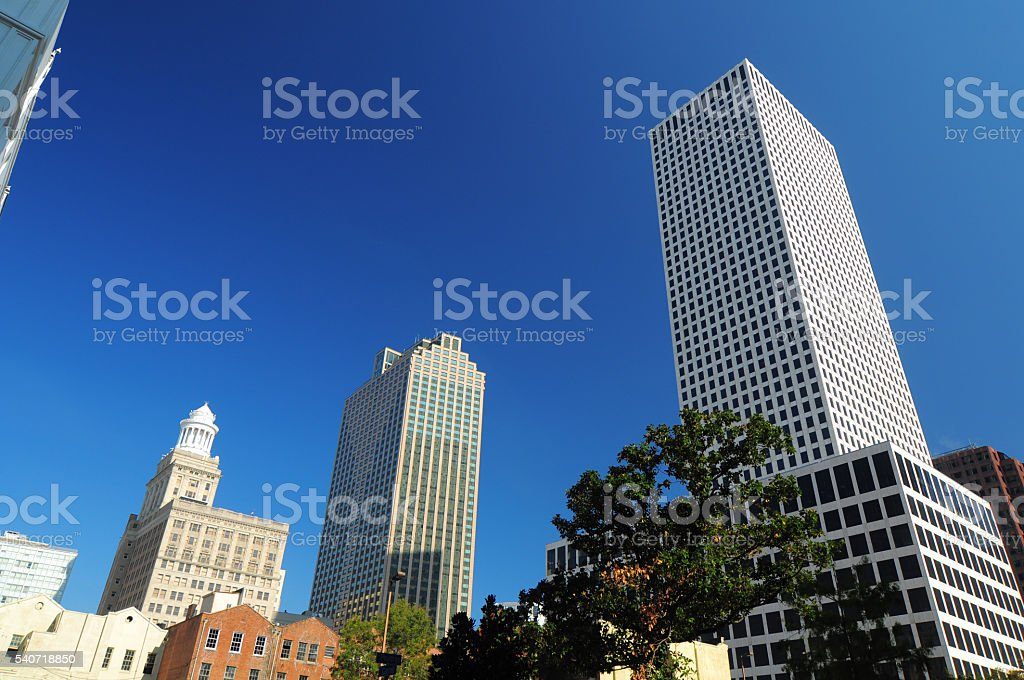New Orleans skyscrapers, wide angle stock photo