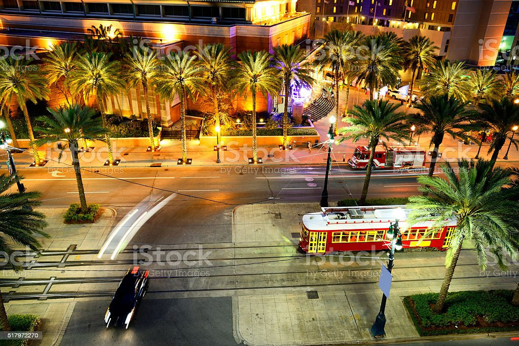 New Orleans street car by night stock photo