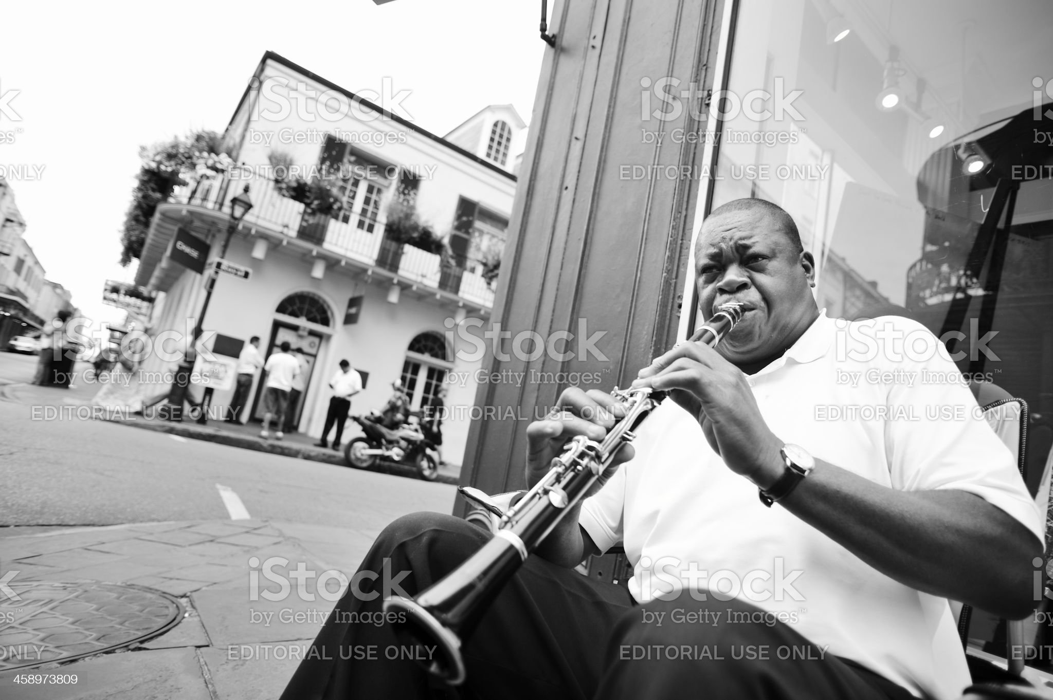 New Orleans Street Musician Playing Clarinet royalty-free stock photo