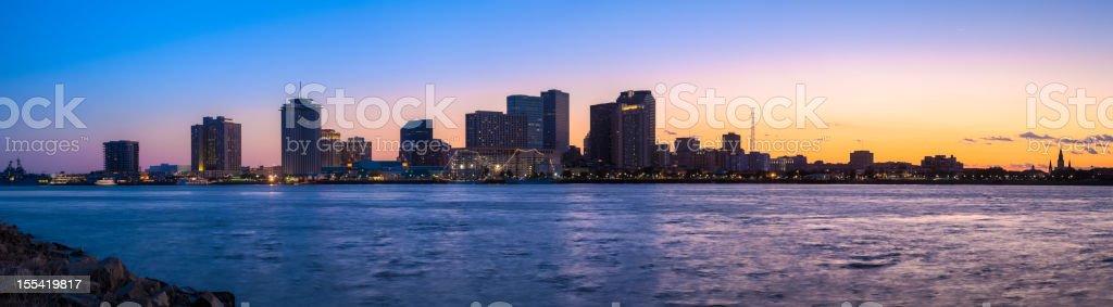 New Orleans Sunset Panorama stock photo