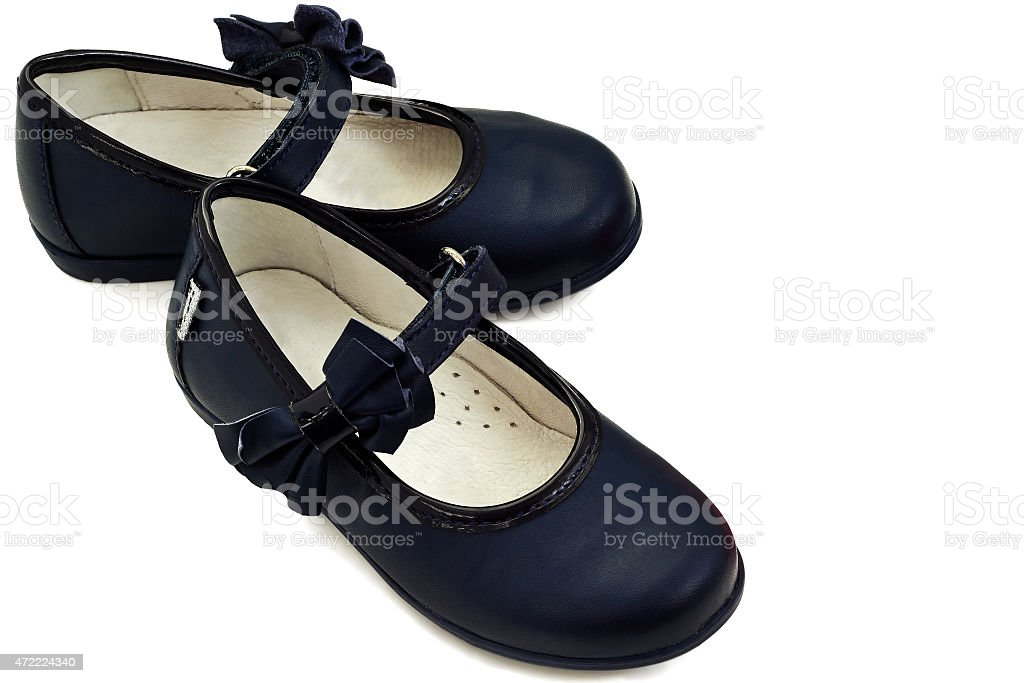 New Pair of Child's blue Shoes on a white background stock photo