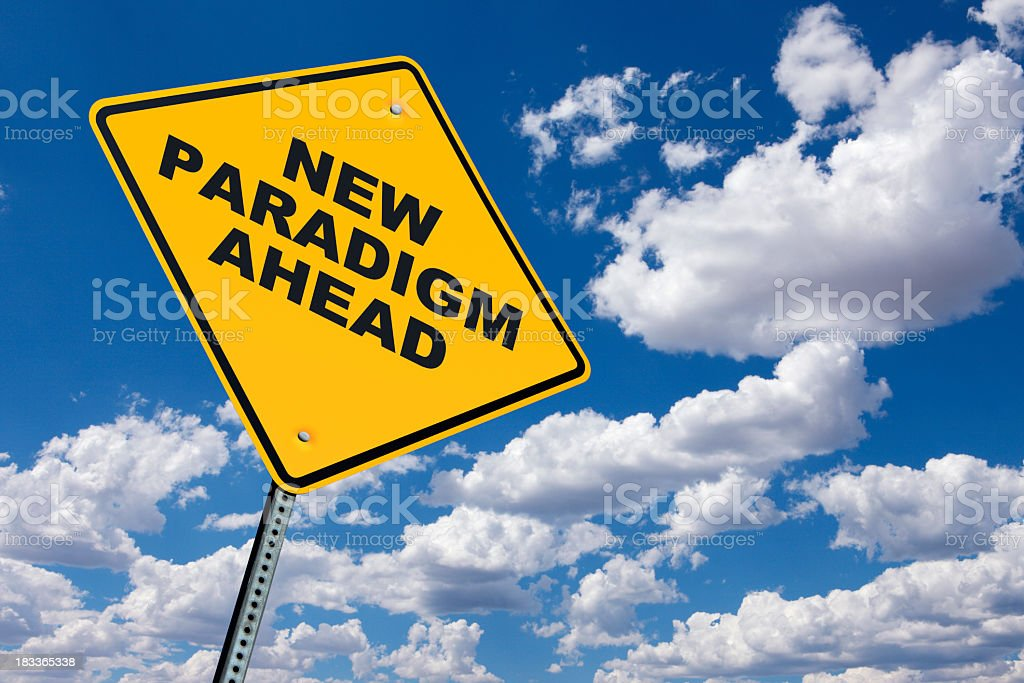 New Paradigm Ahead on yellow road sign royalty-free stock photo