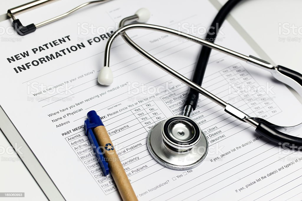 New patient information form royalty-free stock photo