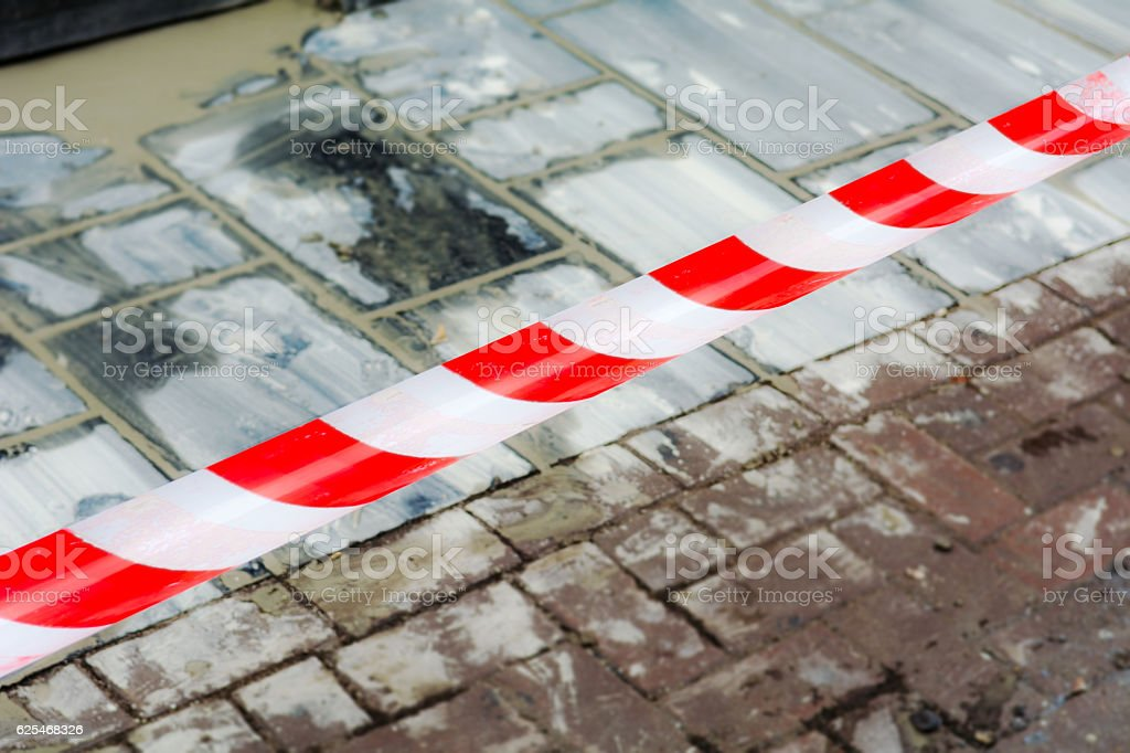 new pavement off limits to stay clean stock photo